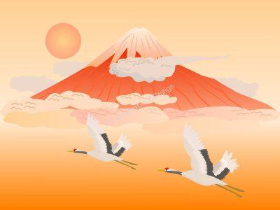 赤富士と鶴(ベクターあり)