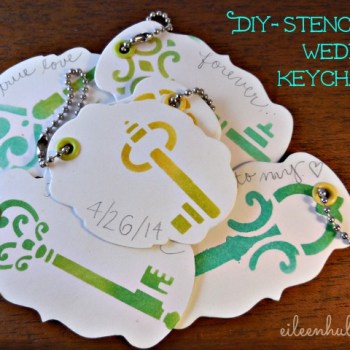 DIY Stenciled Wedding Keychain