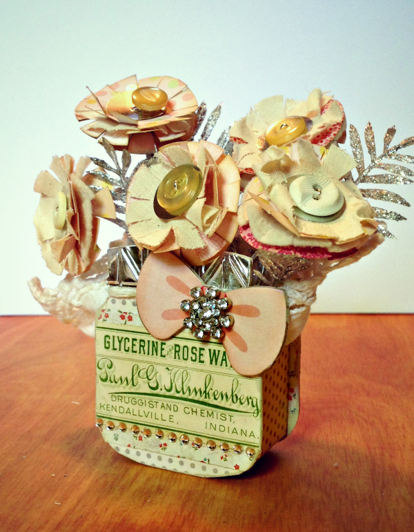 Art with Heart Challenge {May Flowers} Paper Flower Food Jar by Michelle Zerull| Eileenhull.com