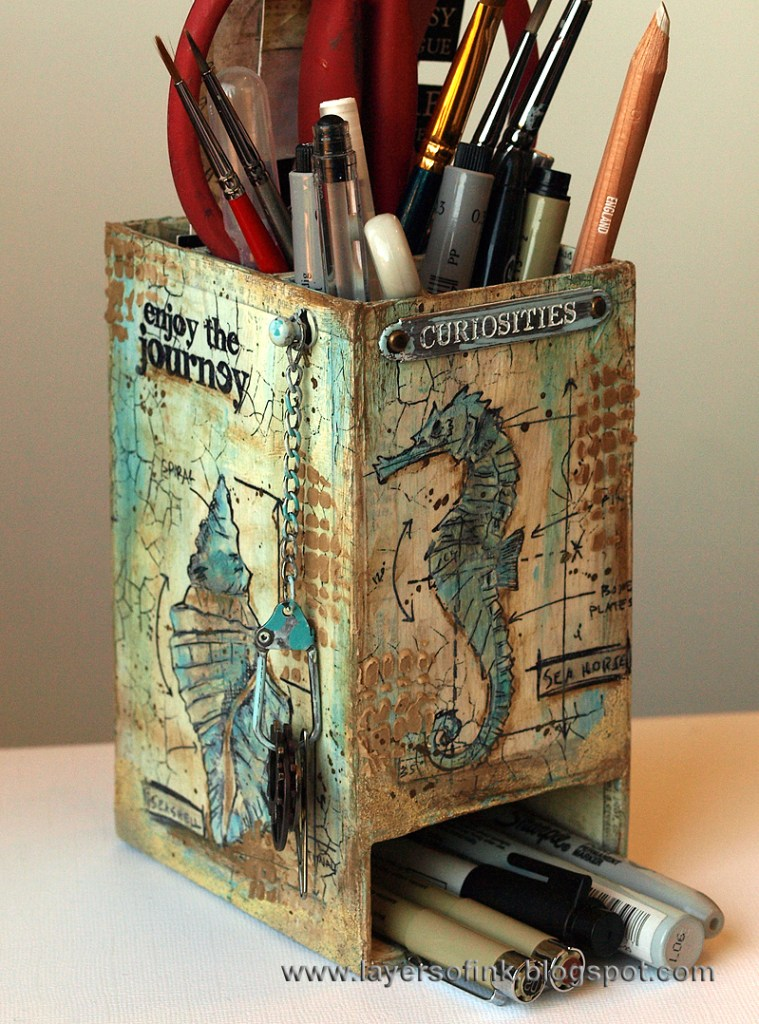 Nautical Blueprint Art Supply Caddy by Anna-Karin Evaldsson | Eileenhull.com