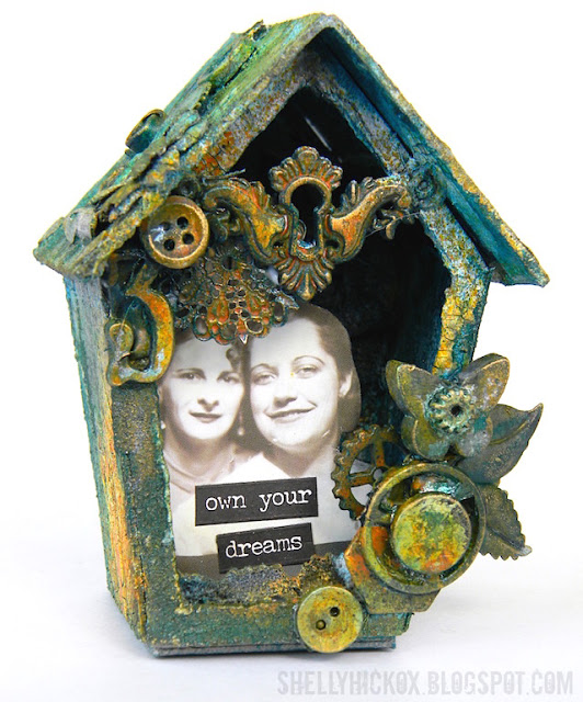 Shadow Box Birdhouse with DecoArt Media by Shelly Hickox