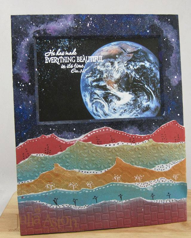 Create with Crescent: Galaxy Background and Paper Landscape Tutorial with Eileen Hull Sizzix dies by Julia Aston