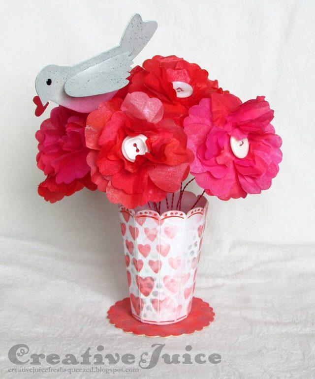 Eileen Hull Blends Ink Tutorials: Valentine's Day Tissue Flower Centerpiece by Lisa Hoel