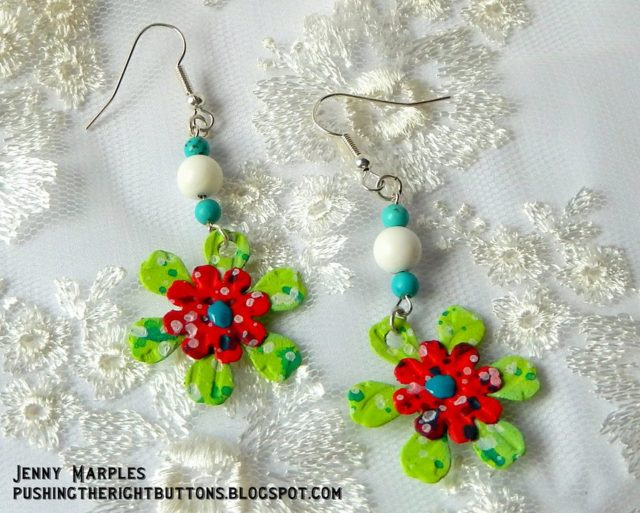 Unique Heartfelt Sizzix Tutorials: Stitchy Flower Earrings with Sizzix Paper Leather by Jenny Marples