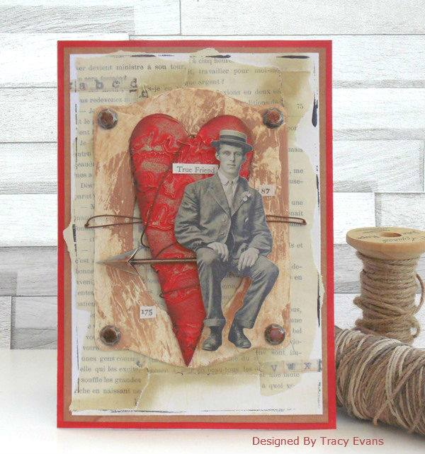 Eileen Hull Die Favorites Projects and Tutorials: Mixed-Media Valentine's Day Card by Tracy Evans