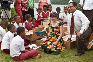 Children on Bau Island with books from Books For Fiji