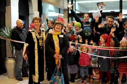 Mayor Celia wade-Browna nd author Joy Cowley open Storylines Family Day