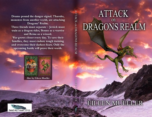 Attack on Dragons Realm paperback cover. By Eileen Mueller