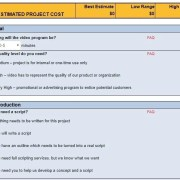 An online estimator for the cost of video production