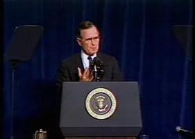 Television news report on President HW Bush's speech in San Francisco