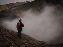 Die heißen Quellen von Landmannalaugar ... aus jedem Winkel des Tales steigt Dampf auf.