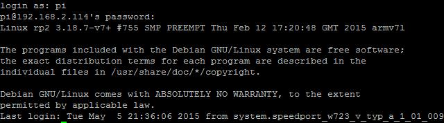 Raspberry Pi SSH Login (Screenshot Putty)