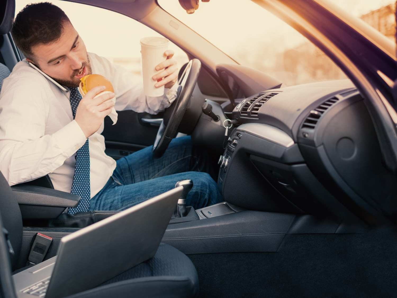 man distracted driving