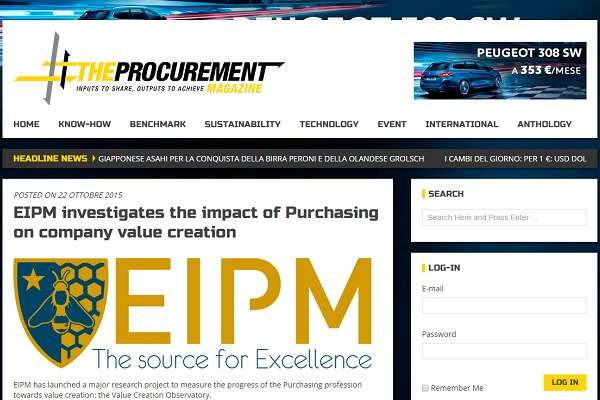 Screenshot of EIPM's article in The Procurement website