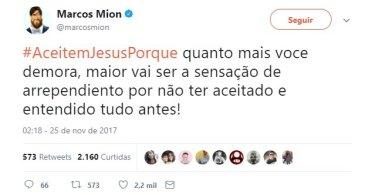 """Marcos Mion pede que pessoas aceitem Jesus: """"Quanto mais demora, maior o arrependimento"""""""