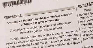 'Dialeto secreto de gays e travestis' é abordado em questão do Enem