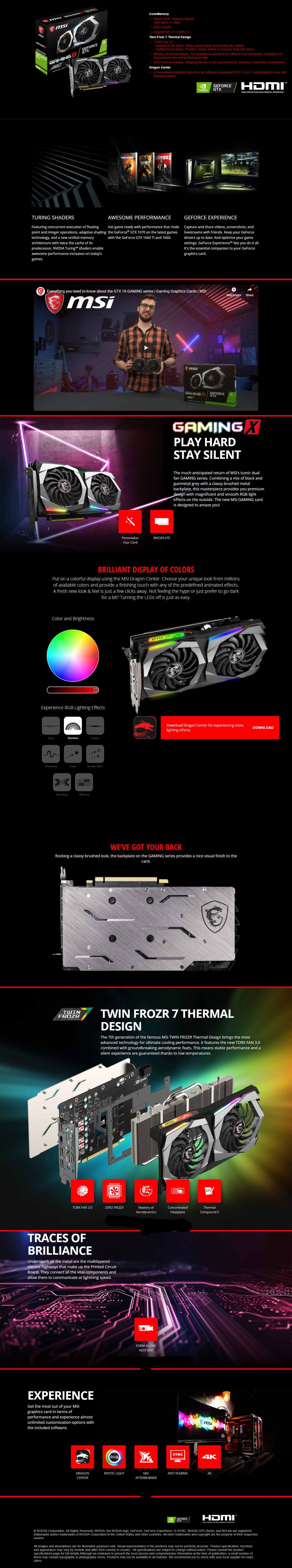 MSI GeForce GTX 1660 X 6G 6GB DDR5 Graphics Card With Dragon Center