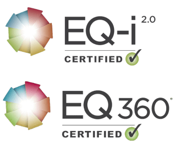 EQ-i 2.0 certified trainer logo and also the EQ 360 Certified Trainer logo below it.