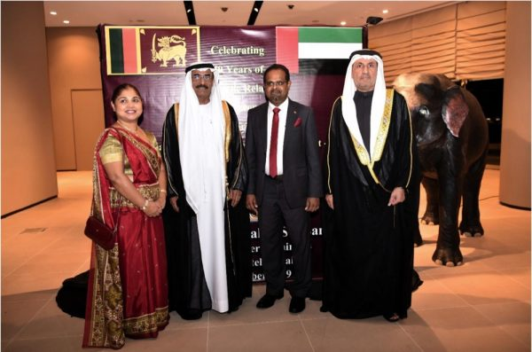 1.His Excellency,  Dr. Abdullah Bin Mohammed Belhaif AlNuaimi Minister of Infrastructure Development in the United Arab Emirates, Chief Guest of the evening received by Mr. Charitha Yattogoda, Consul General of Sri Lanka in Dubai and Northern Emirates