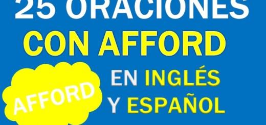 Oraciones Con Afford En Inglés