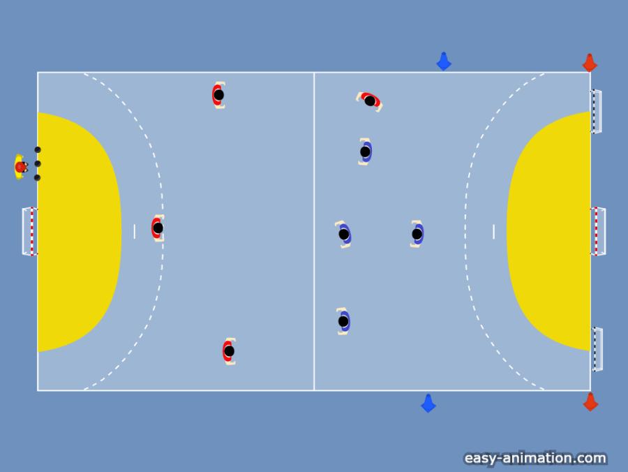 Ejercicio de Fútbol Sala: Cuatro contra cuatro y dos mini porterías