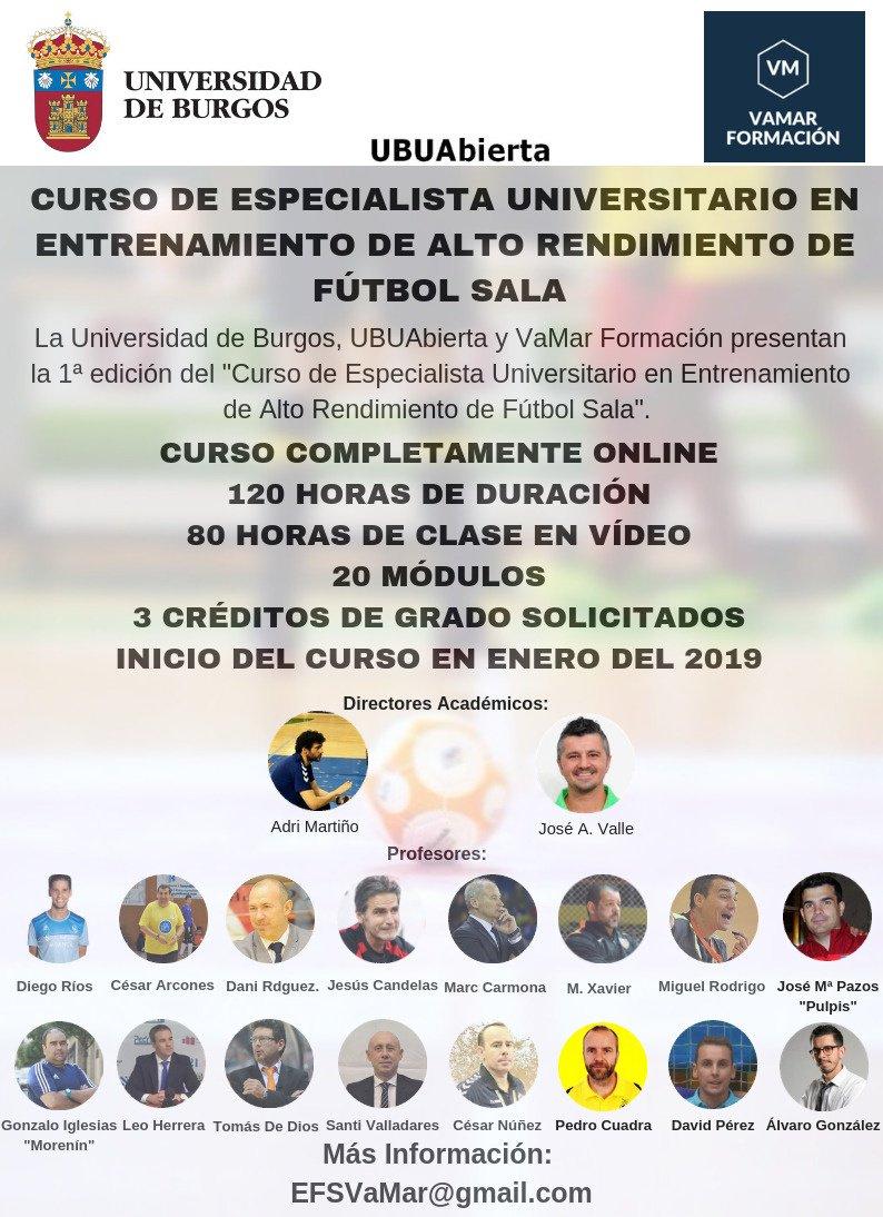 Primera Edición del Curso de Especialista Universitario en Entrenamiento de Alto Rendimiento de Fútbol Sala