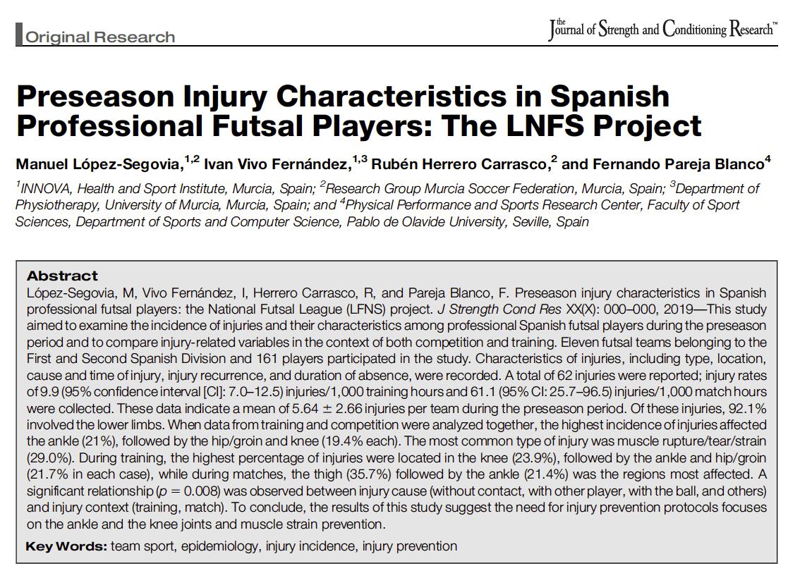 Estudio sobre las características de las lesiónes de pretemporada en jugadores profesionales de la LNFS