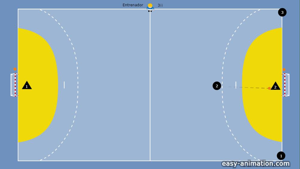 Hoy os traemos un sencillo ejercicio de fútbol sala donde el entrenador es el que escoge al jugador que le toca defender en las dos primeras secuencias del ejercicio.