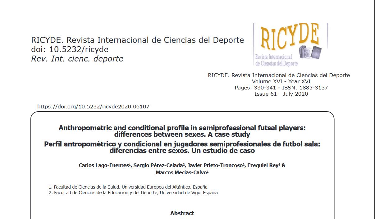 """Estudio de """"Perfil antropométrico y condicional en jugadores semiprofesionales de futbol sala: diferencias entre sexos. Un estudio de caso"""""""