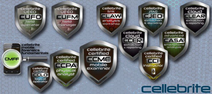 A sampling Cellebrite course and certification offerings. By the way, I also made all the shields you see here.