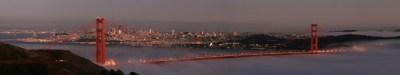 Golden Gate at sunset toward the city