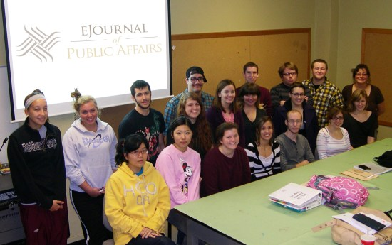 Image of the eJournal of Public Affairs logo team