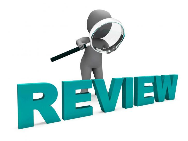 Image of man with a magnifying glass looking at the word review