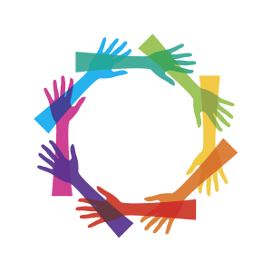 Image of colorful hands in a circle