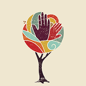 Image of a hands coming out of a tree - article cover of the public engagement and literacy research issue