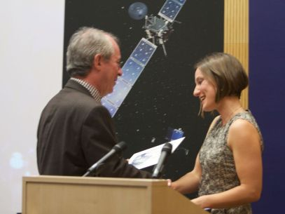 Emily receives ESA Rosetta award on behalf of the ESA Science communications team