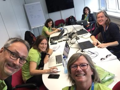 Back at ESOC in Darmstadt to help cover ExoMars arrival and landing! Clockwise from top right: Dr. Karen O'Flaherty, Maria Bennett, Erica Rolfe, Daniel Scuka, Dr. Emily Baldwin, and Dr. Claudia Mignone (Vitrociset Belgium for ESA).