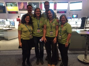 Round of applause for some members of the team who helped relay all the ExoMars excitement to us! From right to left: Erica Rolfe, Dr. Emily Baldwin, Maria Bennett, Dr. Claudia Mignone (Vitrociset Belgium for ESA), Thomas Ormston (ESA), and Daniel Scuka.