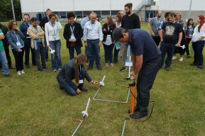 The hands-on rocket activity.
