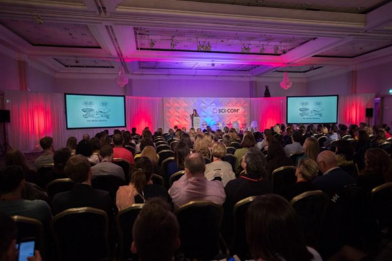 Full house for keynote address by Deborah Blum at SCI:COM 2016 in Dublin, Ireland. Photo credit: Naoise Culhane Photography Ltd
