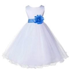 b7d9a1d84a8 White cornflower Tulle Rattail Edge Flower Girl Dress Wedding Bridal