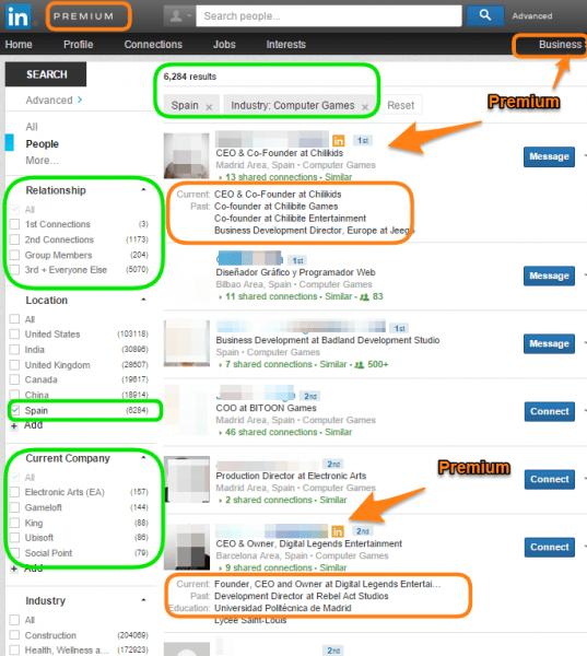 Resultados de Busqueda con Perfil Premium