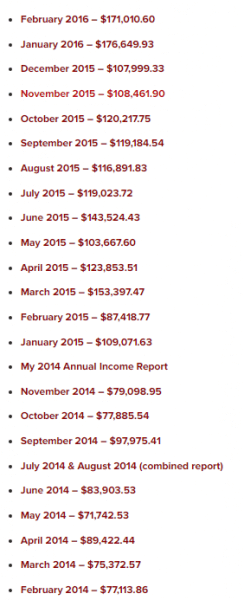 extracto de reports mensuales de Pat Flynn