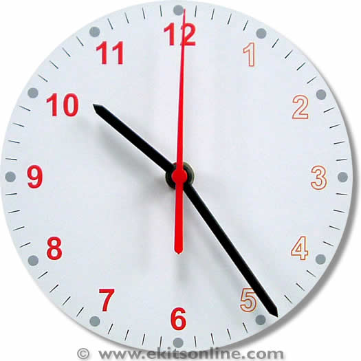 Simple red grey Clock