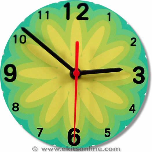Yellow green flower Clock