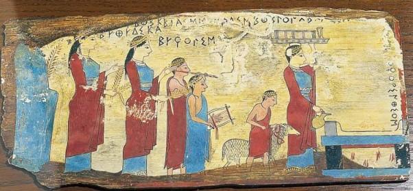 """Οι εννέα μούσες. Αρχικά οι θεότητες αυτές ήταν νύμφες του βουνού και των νερών. Ο Ησίοδος στη Θεογονία αφηγείται: """"Η Μνημοσύνη κοιμήθηκε στην Πιερία με το γιο του Κρόνου και γέννησε αυτές τις παρθένες""""."""