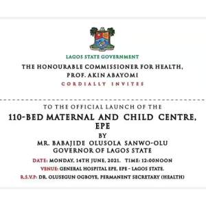 Sanwo-Olu To Commission 110-Bed Maternal & Child Centre In Epe