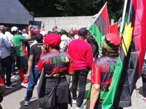 Photos Of IPOB Members Protesting At British Embassy