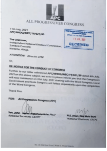 JUST IN: APC Announces Date For Commencement Of Congresses