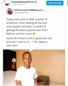 BBNaija Season 6: Reactions As Jackie B Is Surprised By Son And Mother